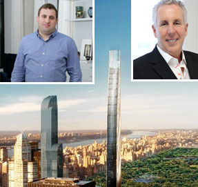 Michael Stern (inset), a rendering of 107 West 57th Street (Credit: SHoP Architects). and Kevin Maloney (inset)
