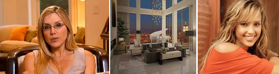 From left: Dolly Lenz, the penthouse at Trump Soho and Jessica Alba