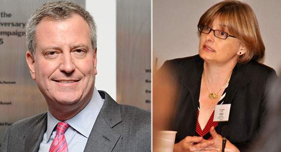 From left: Bill de Blasio and NYU's Vicki Been