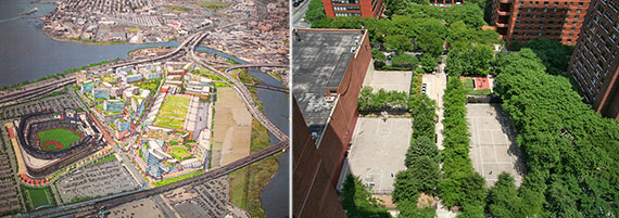 From left: Rendering of Willets Point and Ruppert Playground