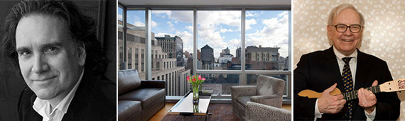 From left: Peter Buffett, the apartment at One Madison and Warren Buffett