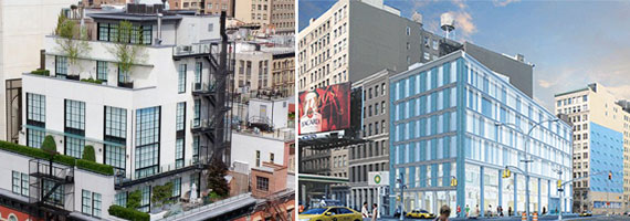 From left: 60 Warren Street in Tribeca and a rendering of 19 East Houston Street in Soho
