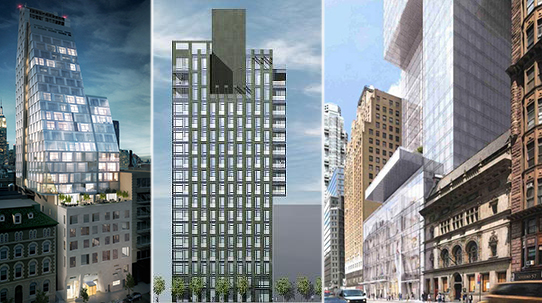 From left: 35 West 15th Street, 303 East 77th Street and 225 West 57th Street