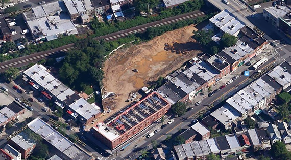 Halted construction site at 90-11 Corona Avenue