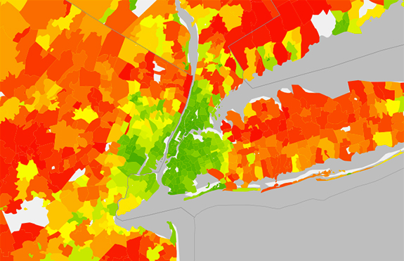 Average annual household carbon footprint (Source: Curbed via UC Berkeley CoolClimate Network)