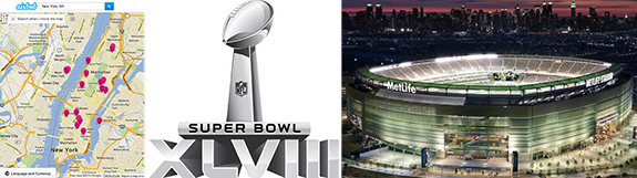 From left: Airbnb's NYC page, Super Bowl logo and MetLife Stadium in East Rutherford, NJ