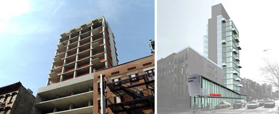 From left: Allen Street Hotel construction photo (credit: Curbed) and a rendering of the project