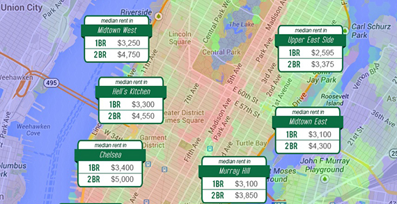 A snippet of Rentenna's new rental price map