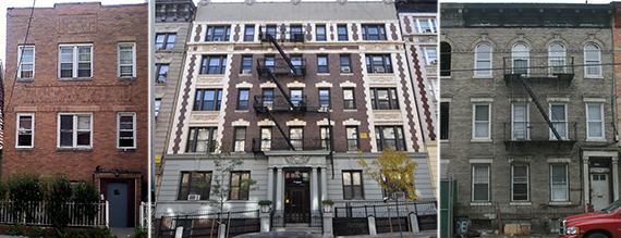 From left: 812 East 223rd Street, 712 West 180th Street and 2158 Dean Street