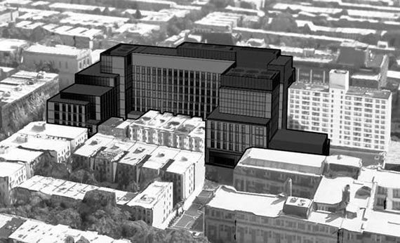 Rendering of NY Methodist's proposed addition to LICH