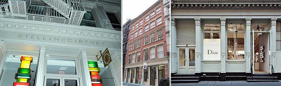 From left: 112, 131 and 133 Greene Street