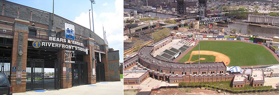 From left: Gate and stadium of the Newark Bears & Eagles Stadium