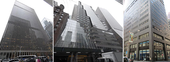 From left: 1251 Avenue of the Americas, 527 Madison Avenue and 100 William Street