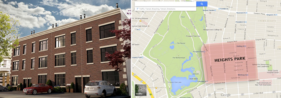 From left: 280 Hawthorne Street and map of Park Heights