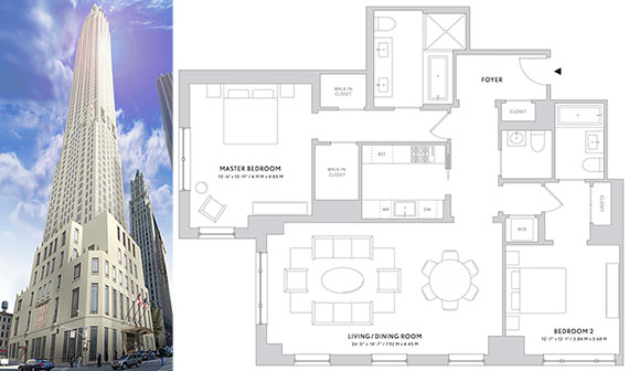 From left: Rendering of 30 Park Place's exterior and a two-bedroom unit floor plan