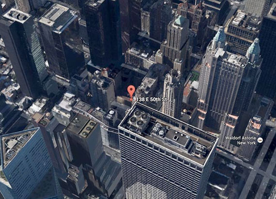 Aerial view of the 138 East 50th Street site (Source: Google Maps)