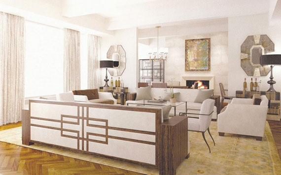 Rendering of a living room at 17 East 12th Street