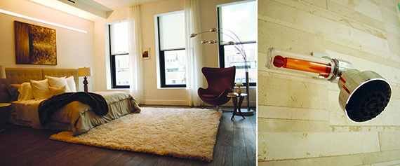 From left: Delos bedroom with circadian lighting and posture-supportive flooring and vitamin C showerhead