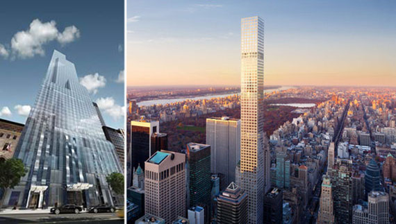 From left: One57 rendering and 432 Park rendering