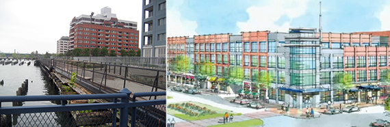 From left: Bay Street Landing on Staten Island and a rendering of the Staten Island Homeport