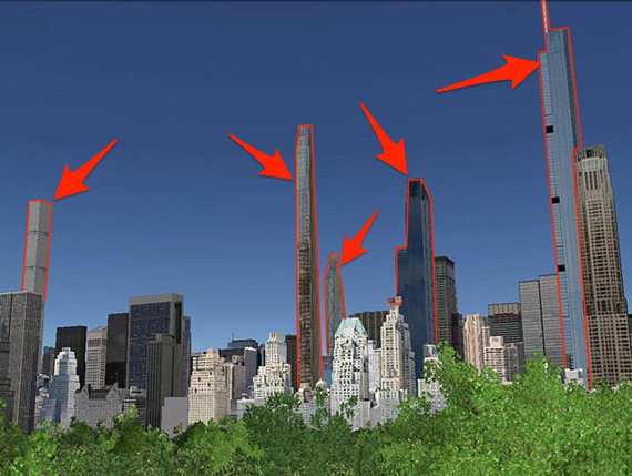 From left to right: 432 Park Ave., 111 West 57th St., 53 53rd St., One57, and Nordstrom Tower.