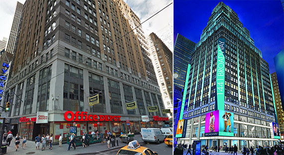 From left: 1441 Broadway and a rendering of the renovated building
