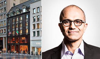 From left: 677 Fifth Avenue and Microsoft CEO Satya Nadella