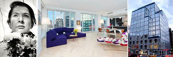 From left: Marina Abramovic, her apartment and 330 Spring Street