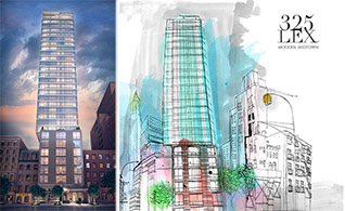 From left: 325 Lexington rendering and teaser website image