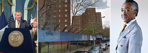 From left: Bill de Blasio, Lincoln Houses in East Harlem and Al Sharpton