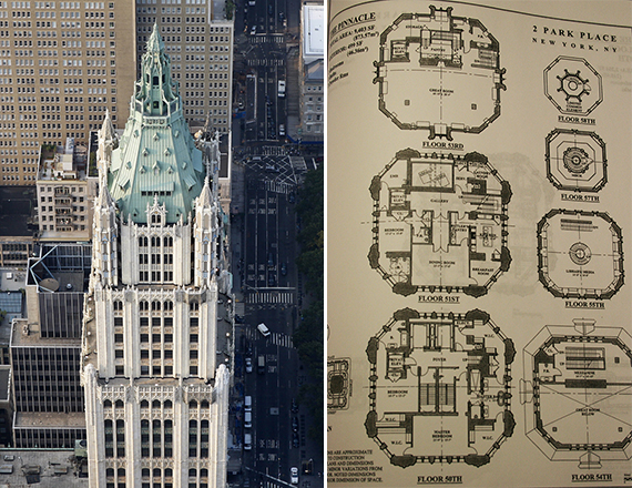 The Woolworth Building at 233 Broadway and floor plans of the $110 million penthouse