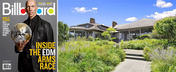 From left: Robert F.X. Sillerman in Billboard Magazine and 1116 Meadow Lane in Southampton