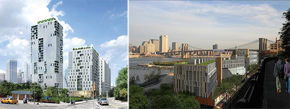 From left: Proposal for Pier 6 towers by Marvel and Pierhouse at Pier 1 rendering