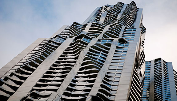 "8 Spruce Street, Frank Gehry's parametric design in the vein of the architecture featured in the film ""Tron: Legacy"""