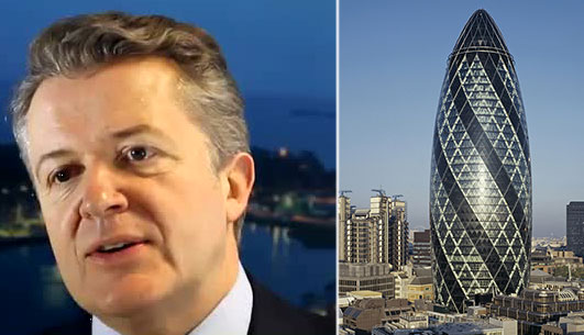 From left: Savills' Stephen Down and London's Gherkin building