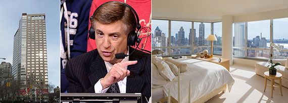 From left: 150 Columbus Avenue, Marv Albert and his penthouse