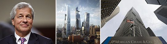 From left: Jamie Dimon, Hudson Yards and 270 Park Avenue