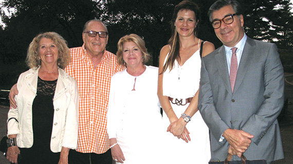 At the Victor de Souza Runway Show, from left: Esther Muller, President of the Academy for Continuing Education; real estate investor Errol Rappaport; Faith Hope Consolo, chair of Douglas Elliman's Retail Group; actress Darielle Gilad; and Joseph Aquino, executive vice president of Douglas Elliman's Retail Group