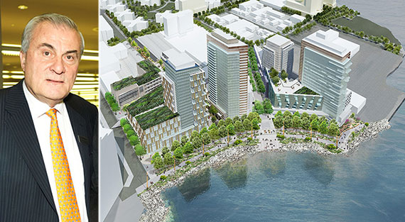 From left: Steve Valiotis and a rendering of Astoria Cove (Credit: Studio V Architecture)