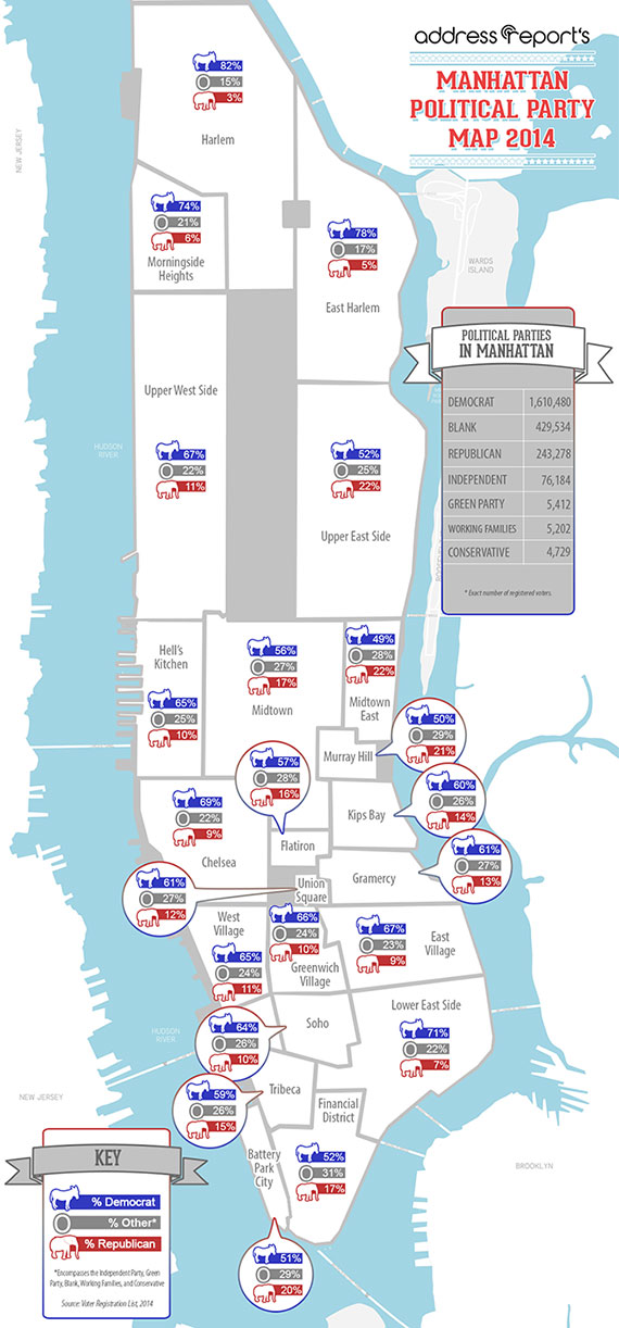 AddressReport's Political Parties of Manhattan Map for 2014
