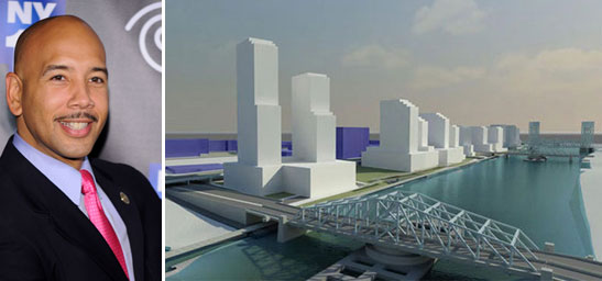 Ruben Diaz, Jr. and ta rendering of he South Bronx waterfront redevelopment project