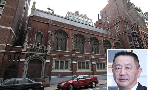 Existing structure at 334 West 36th Street, Inset: McSam Hotel Group's Sam Chang