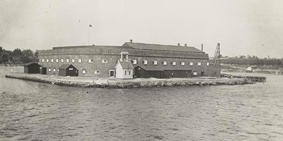 Fort Lafayette, an island that was later demolished for the construction of the Verrazano-Narrows Bridge