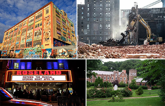 Clockwise from left: the former 5Pointz, the demolition of the Domino Sugar Factory, Roseland Ballroom and Mount Manresa