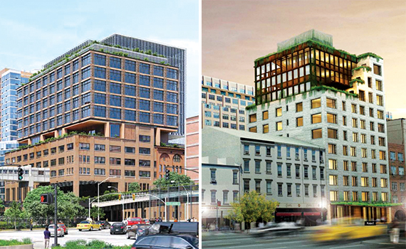 Left: After a failed plan to put a hotel on top of Chelsea Market, the developer now intends to create a 330,000-square-foot addition consisting of office space.  Right: The structure atop 345 Meatpacking at 345 West 14th Street was part of the original design