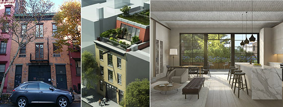 From left: 271 West 10th Street, renderings of the property