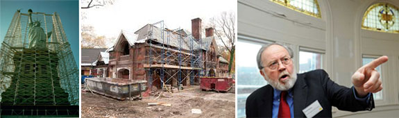 The Statue of Liberty and Tavern on the Green during their renovations, and the firm's president, Richard Hayden