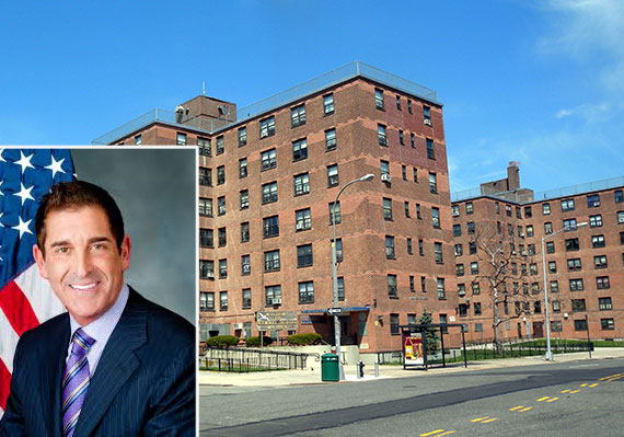 NYCHA Housing development in the Bronx and State Senator Jeff Klein (inset)