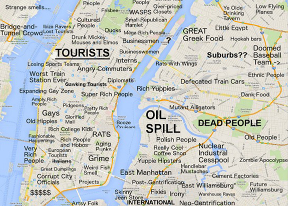 A piece of the judgemental map of NYC