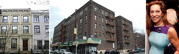 From left: 178 East 64th Street, 1059 Union Street and  Debrah Lee Charatan (credit: Flickr)